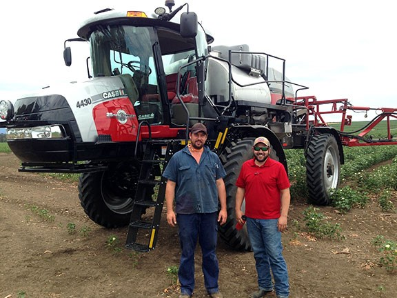 Farmer Andrew Lowien (left) and Case IH product specialist Andrew Kissel with the new special-edition Patriot 4430 sprayer.