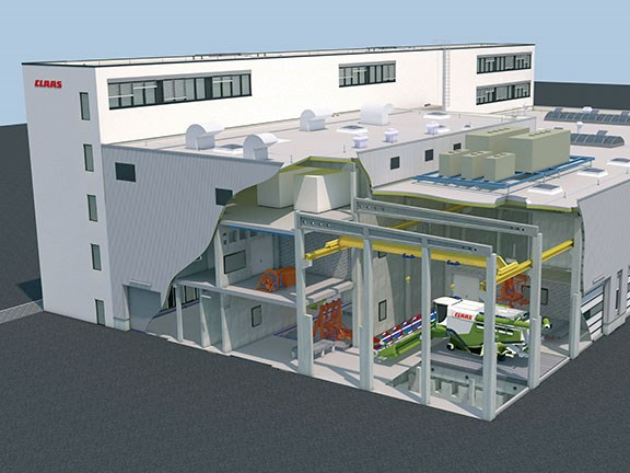 An artist's impression of the new test centre under construction at Claas headquarters in Harsewinkel, Germany.
