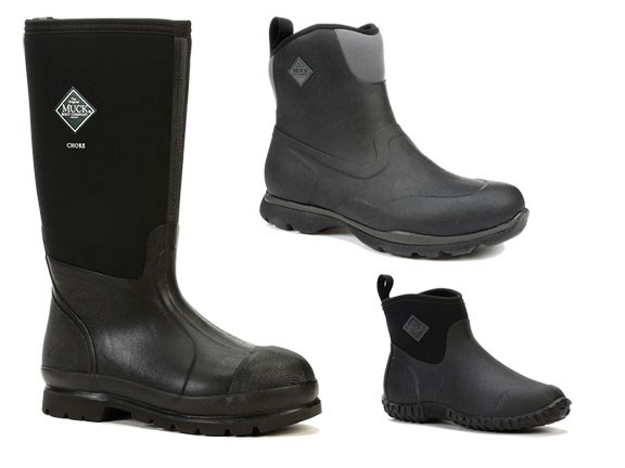 Clockwise from left: Muck Chore Series, Excursion Pro and Muck Muckster II boots