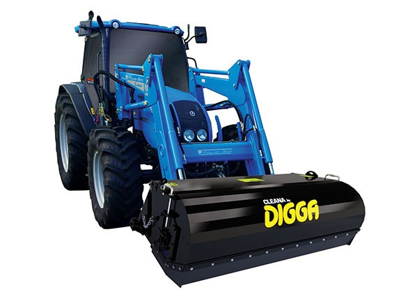 The Digga Cleana bucket broom being used on a tractor