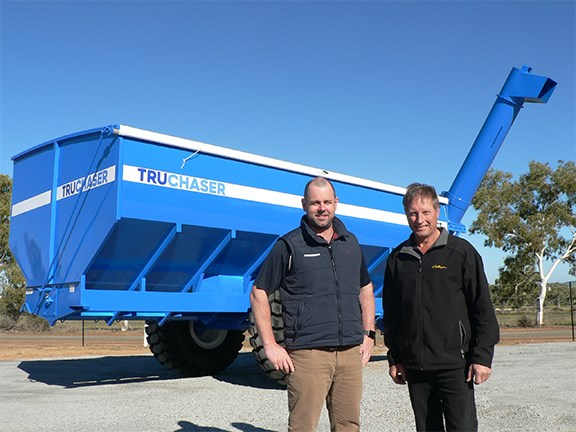Anthony Ryan and David Trindall with the new Truchaser chaser bin