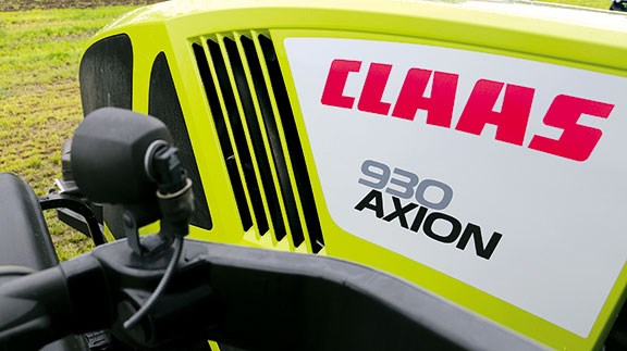 A top view of the Axion 930 bonnet