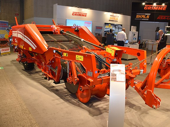 The Grimme WR200 potato windrower on display