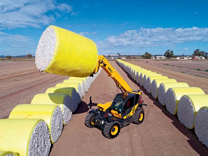 The Dieci Cotton Pro 70.10 telehandler in between cotton bales in NSW