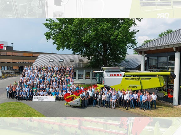 Claas staff with the 50,000th Lexion 780  combine harvester