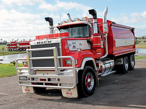 Classic. Superbly restored Mack Super-Liner V8 is the exception to the rule in a Kenworth dominated fleet