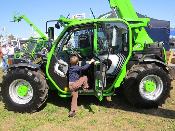 This future farmer couldn't wait to get his hands on the new Merlo TF 35.7-120 telehandler.
