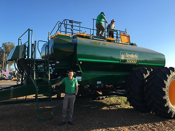 Simplicity sales manager Cameron Jordan says farmers were clambering all over the massive 30,000-litre trail behind air-seeder cart, eager to get a closer look.