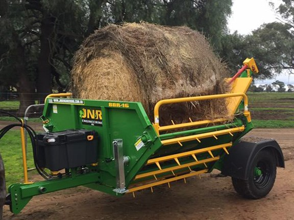 The JN&R Engineering BBR-16 (Bale Buggy Round) hay feedout wagon was unveiled in July.