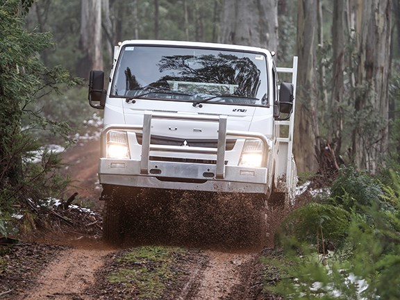 With a bit of momentum, the Fuso will go most places where there's a track.