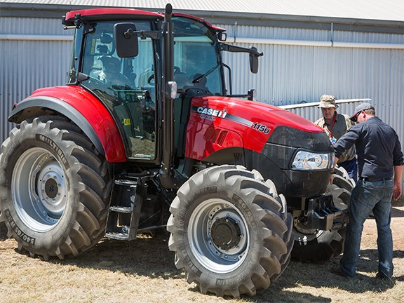 Farmers checking out the Case IH Farmall 115U at last year's Case IH Red Excellence Tour at Kadina, South Australia.