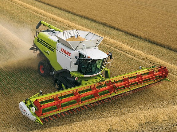 A  Claas Lexicon combine harvester with Terra Trac and Vario 1230 variable cutter bar.