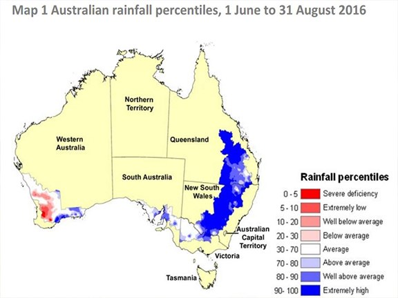 Eastern Australia's main wheat and sheep farming zones had their second‐wettest winter on record (Source: BoM)