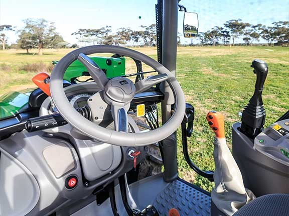 The Deutz Fahr 51054GS tractor has good visibility in the cabin.