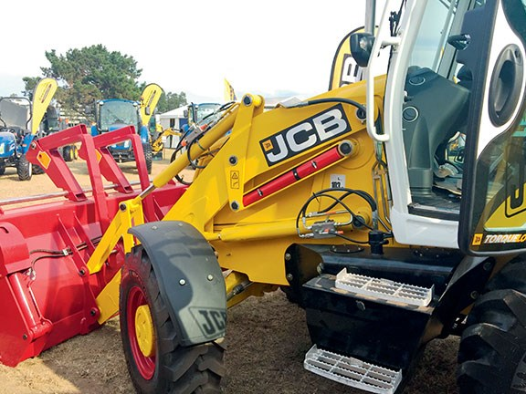 The JCB 3CX Platinum Edition backhoe loader seen at Diesel Dirt & Turf Expo 2016