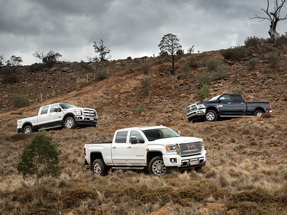 The big three American utes Ford F-250 Superduty, GMC Denali 2500 and Ram 2500 are put to the test by Matt Wood.