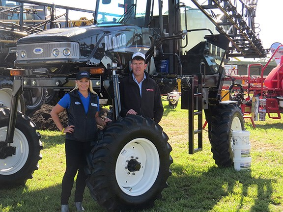 GVM marketing and international sales manager Erin Hutchison and Croplands Australia area sales manager Dave farmer with the GVM Mako 450 self-propelled sprayer at AgQuip 2016.