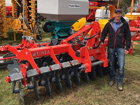 FarmTech Machinery's Derek Modra launched the new UNIA disc unit at this year's show. He says this style of cultivator is quickly growing in popularity