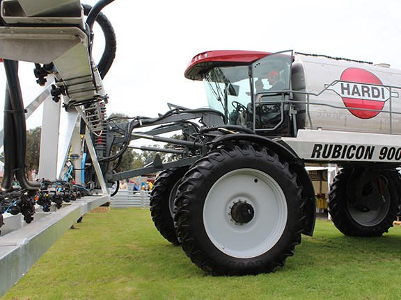 The Hardi Rubicon 9000 self-propelled sprayer features a 9000-litre spray tank and 48.5m boom. The 370hp sprayer is capable of spraying up to 146ha an hour at 30km/h