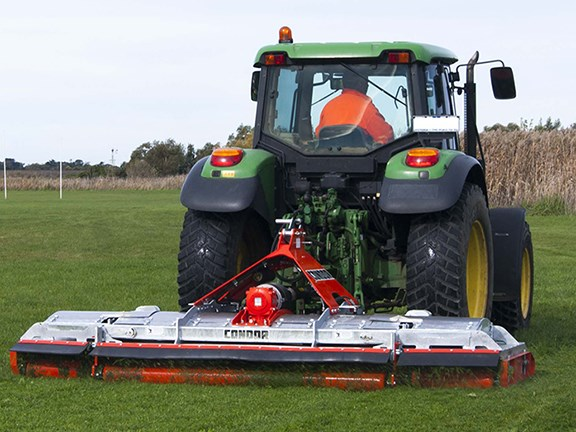 The Howard Condor mower is wider than the average mower, allowing it to substitute some of the work normally done by slashers.