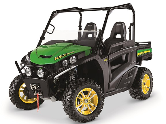 The RSX860i UTV is also available in traditional John Deere green and yellow.