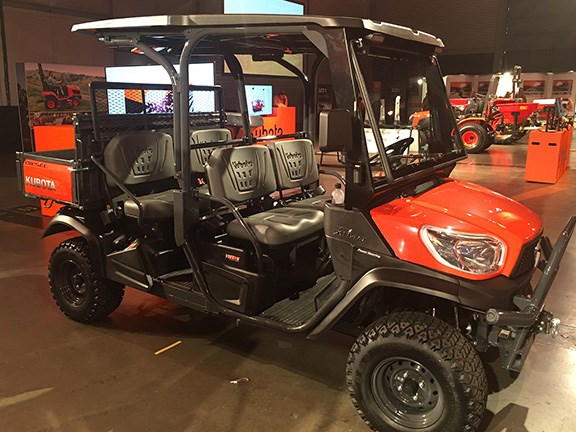 Kubota's 4WD diesel RTV X1140 UTV features a 1123cc, 3-cylinder Kubota engine that produces 24.8hp @3000rpm and has a variable hydro transmission. It converts from a two-seater to a four-seater in about 40 seconds.