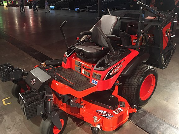A redesigned cutting deck on the Kubota ZD series zero turn mowers has improved airflow to clear grass cuttings more efficiently. As a result it mows faster and uses less power.  Other new features include new low-profile tyres, hands-free park braking and hydraulic deck lift.