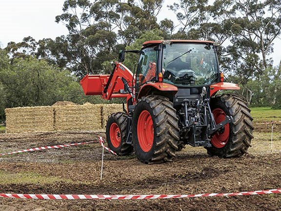 Protruding rear wheels affected Tom's ability to keep the Kubota inside the winding track.
