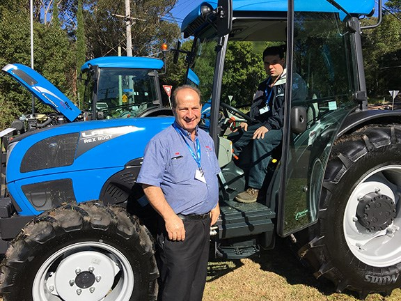 Pictured with the Landini Rex orchard tractor are Paul Pintaudi (left) of Small Horse Tractors, Dandenong, VIC, and Matthew Giordano of Seville Tractors, VIC.