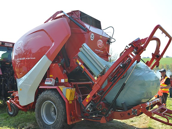 The Lely Welger RPC 445 Tornedo baler and wrapper spits out a well-wrapped bale.