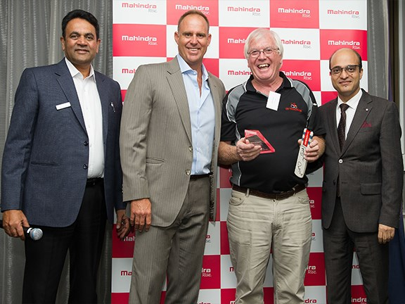 Sales Manager Ag Satish Chandra with Matthew Hayden, Chris Durery of CD Tractors, and vice president international operations Joydeep Moitra.