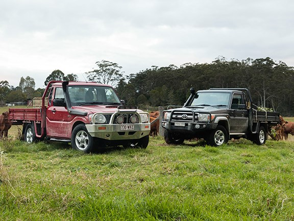 The Mahindra ute is a budget-priced contender. But the 70 series Landcruiser has a tough outback heritage.