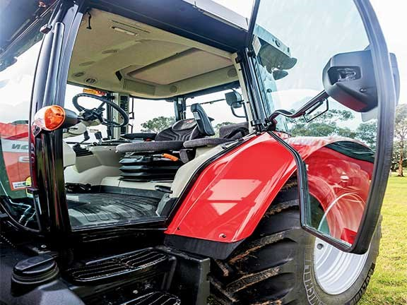 The Massey Ferguson 5609 tractor has large, chunky doors.