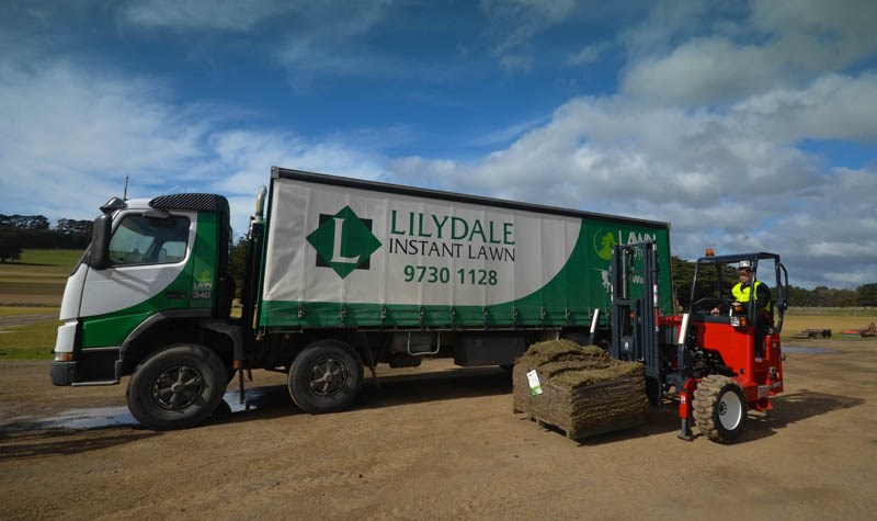 Moffett M5 forklift and Lilydale Instant Lawn