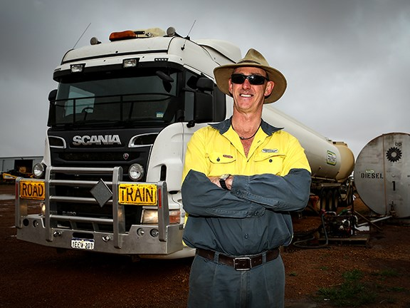 Driver Trevor Bale with a South East Petroleum R620 Scania truck.
