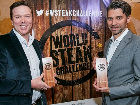 Jack's Creek's Patrick Warmoll and Frank Albers with their World Steak Challenge awards.