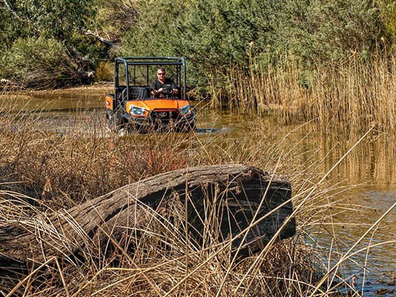 The Kubota diesel is a highly capable UTV and, with a roof, windscreen and winch, more or less typical of the breed. A UTV won't cope with tight access as well an ATV but is far more practical when you're in the saddle all day