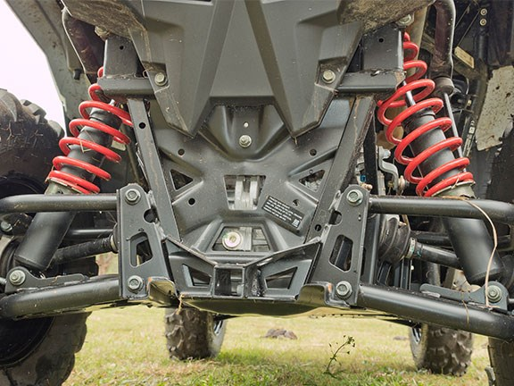 This is what you'll see at the rear end of most modern ATVs: double-A-arm independent suspension, off-road tyres and coil-over shocks with preload adjustment only