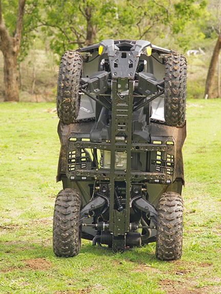 Every ATV has underbelly protection but exactly how much varies with brands and models. This Can-Am is generally well protected, though there's not much armour around the rear CV joints
