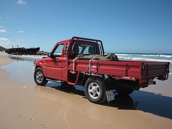 The run up 75 Mile Beach saw the Mahindra stretch its legs in 4x4 high