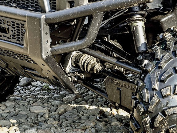 Front and rear suspension is Polaris' proven A-arm setup with coil-over shocks. Ride quality is excellent, even on undulating, potholed river flats