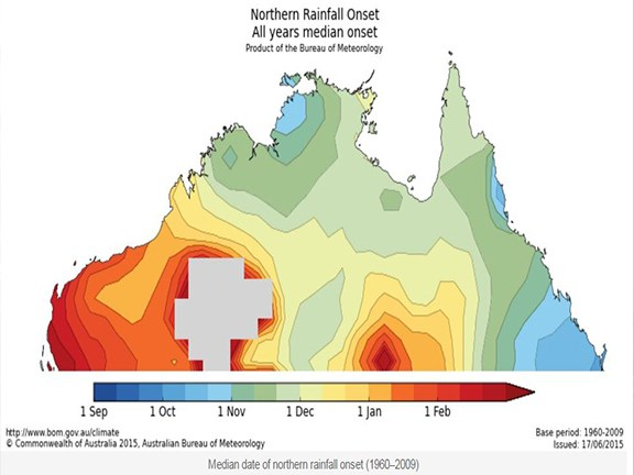 The median date of northern rainfall onset shows the western Top End receives its first useful rainfall by late October, while inland regions of the Northern Territory usually have it in January.