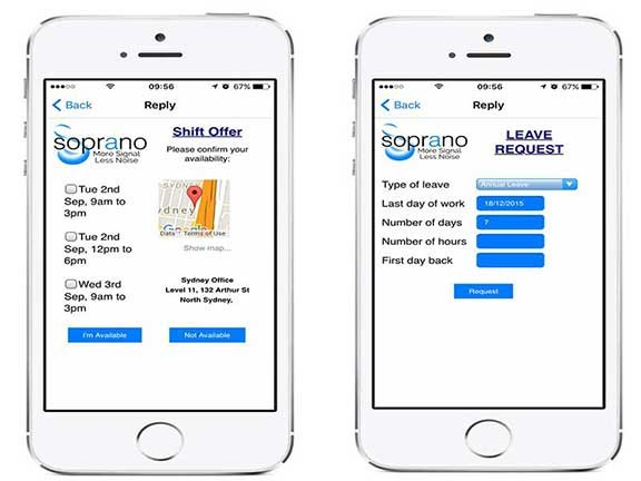 Soprano's GAMMA smartphone app can be used for rostering, signing off on deliveries and more.
