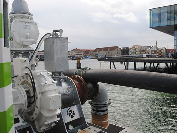 The BBA BA-C200S8 jetting pump being used for underwater excavation in Copenhagen.