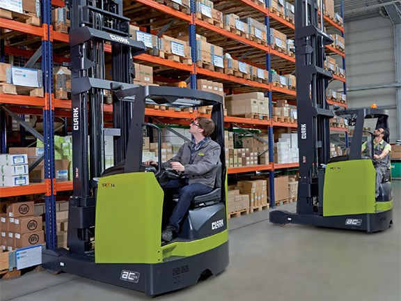 The new Clark SRX reach trucks have improved durability and stability.