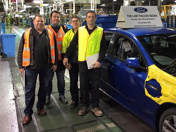 The last Ford Falcon rolls off the Broadmeadows assembly line. Source: AMWU