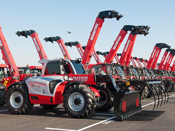 ... and the new: Manitou's 500,000th special-edition MLT 735 telehandler.
