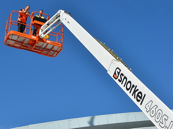 The newly released Snorkel 460SJ telescopic boom lift can reach up to 12.2m.