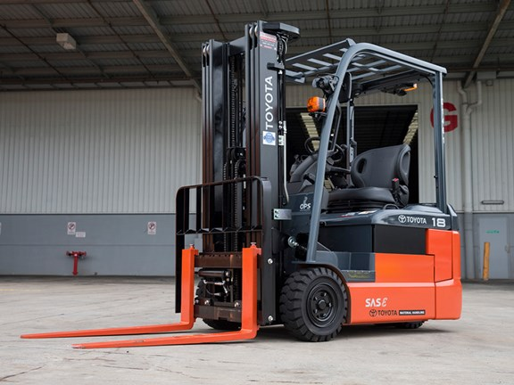 The new Toyota 8FBE three-wheel, battery powered counterbalance forklift.