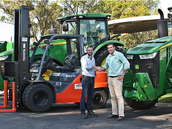 Farm equipment supplier Hutcheon and Pearce has upgraded its material-handling fleet by commissioning 18 Toyota forklifts. Pictured are Hutcheon and Pearce managing director Arron Hutcheon (right) and Liftek managing director Chaise Staltare.